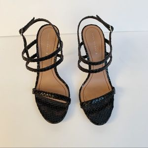 Zara black strappy snake skin heels sandals